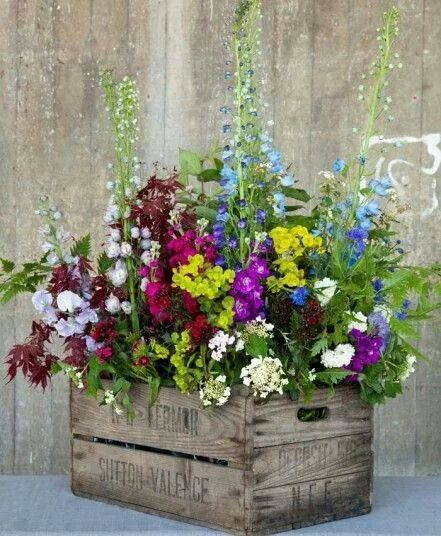 Crate with flowers