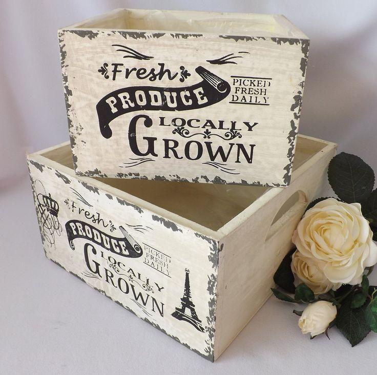 Set of 2 Cream Wooden Storage Box Crates Fresh Produce: Amazon.co.uk: Kitchen & Home