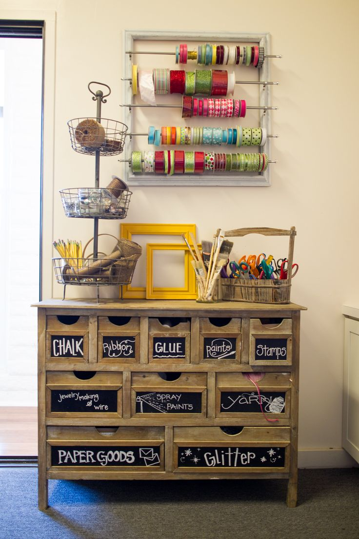 craft corner // drawers with chalkboard labels + hanging ribbon organizer