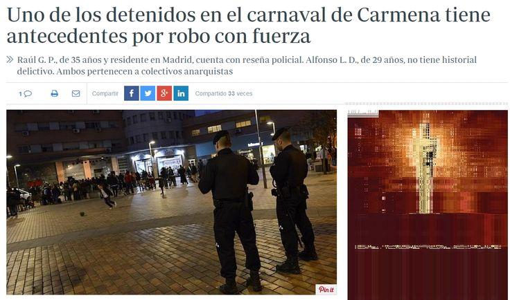 Uno de los dos detenidos de este viernes por el escándalo en el carnaval de Carmena tiene antecedentes policiales por un delito con robo con fuerza, según informó la Jefatura Superior de Policía de Madrid. Se trata de Raúl G. P., de 35 años, quien se define como el fundador de la compañía que ayer escenificó la polémica actuación infantil de guiñoles, Títeres desde Abajo - ABC 5/2/2016