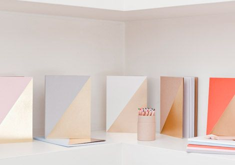 ...gold and solid color geometric notesbooks by Brown Paper...— Joy
