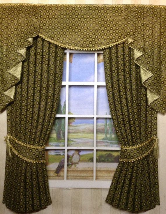12th scale olive dollhouse CURTAINS and tails for by minichris