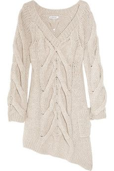 asymmetric cable-knit sweater dress