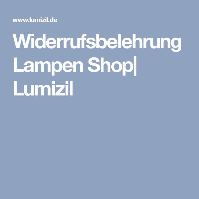 Widerrufsbelehrung Lampen Shop| Lumizil