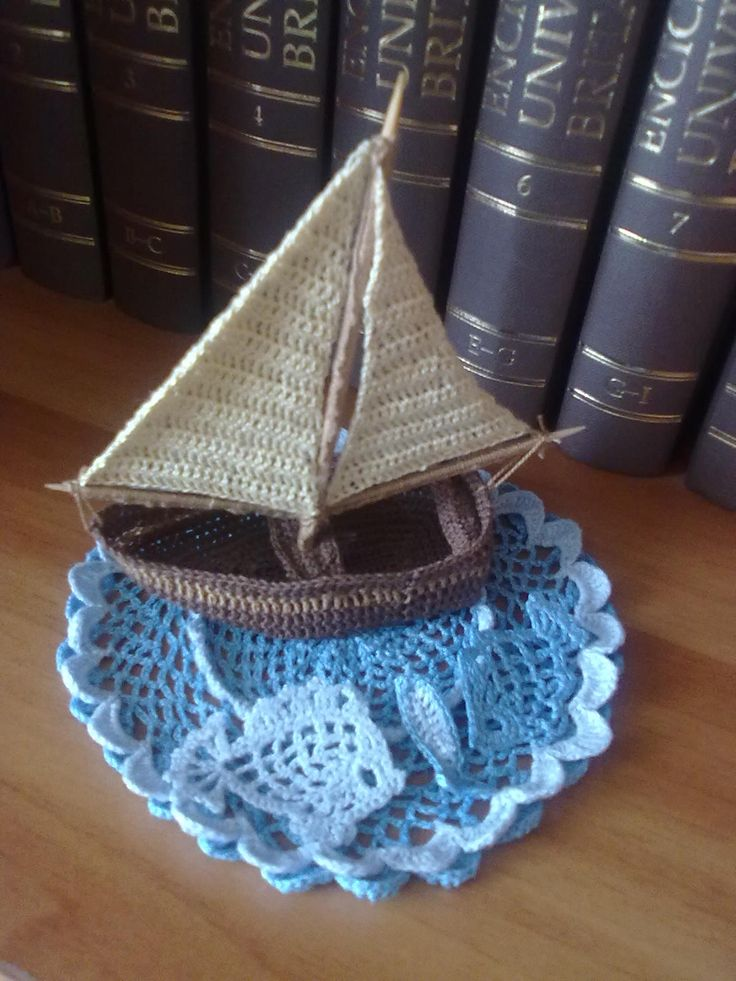 crochet boat on crochet lake