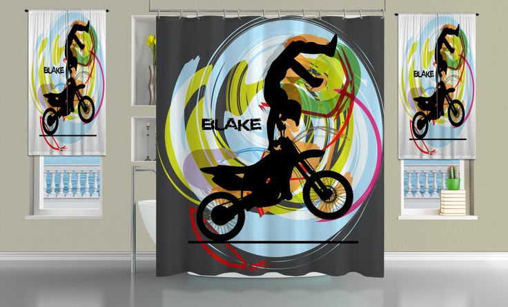 Motocross Shower Cutain, Monogrammed Shower Curtain, Personalized Shower Curtains, Dirt Bike Fabric Shower Curtain, moto x freestyle #11 by EloquentInnovations on Etsy https://www.etsy.com/listing/175118580/motocross-shower-cutain-monogrammed
