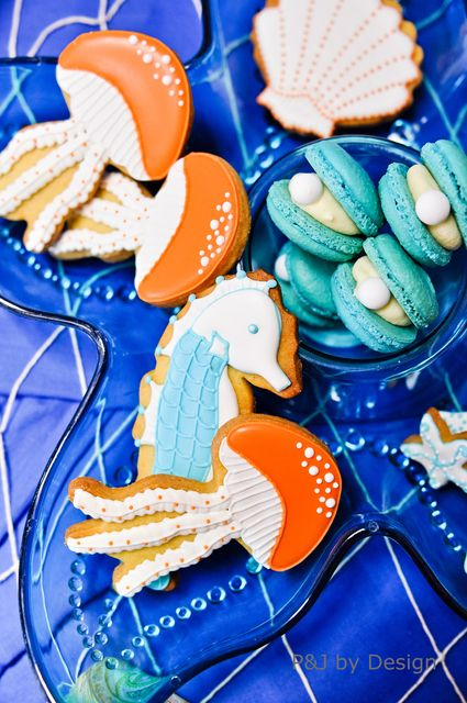 Gorgeous cookies at an Under the Sea Party #underthesea #partycookies