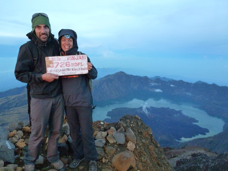 Kathy, Director of Marketing and Kaelhub, Sous Chef, at the top of Mt. Rinjani in Lombok Indonesia. Loving the awesome @Arc'teryx, gear! Clayoquot Wilderness Resort. www.wildretreat.com