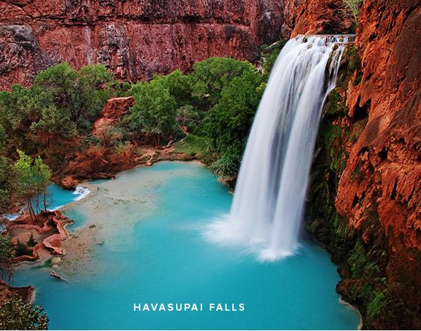 Havasupai Falls at the bottom of the Grand Canyon - camp, cliff jump, swim (but make a reservation first!).