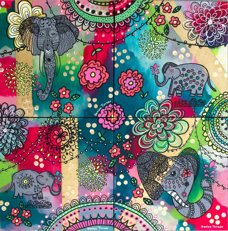BOHEMIAN ELEPHANT SERIES - Print by PositivelyArt on Etsy.  All four Bohemian Elephant paintings in a collage.The elephant's characteristics of reliability, memory, strength and honour are captured in the various poses. Elephants teach us  to be gentle, committed and be good communicators in our relationships. A vibrant tribute to any elephant lover! The print is reproduced on smooth, matte, fine archival paper allowing for an impressive pictorial depth of the original. www.positivelyart.ca