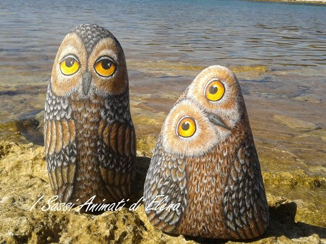 Quirky painted owl rocks-owls were my favorite rock pieces when I painted rocks in the 70's. I should start again.