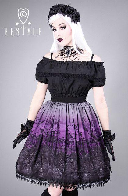 """CEMETERY PURPLE"" gothic lolita skirt, graveyard, guipure"