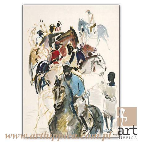 Horse - Painting - Holler Josef | WYŚCIGI W AFRYCE |  A painting by Josef Holler. Signature: Josef Holler; Technique: watercolor; Dimensions: 55 x 76 cm; Exhibitions: Czech Parliament, Millennium gallery – Prague.