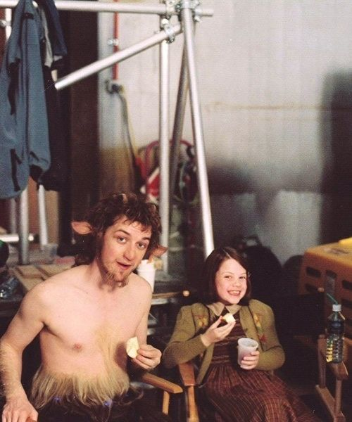 Behind the scenes shot of James McAvoy and Georgie Henley