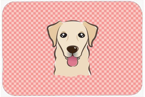 Checkerboard Pink Golden Retriever Mouse Pad - Hot Pad or Trivet BB1252MP #artwork #artworks