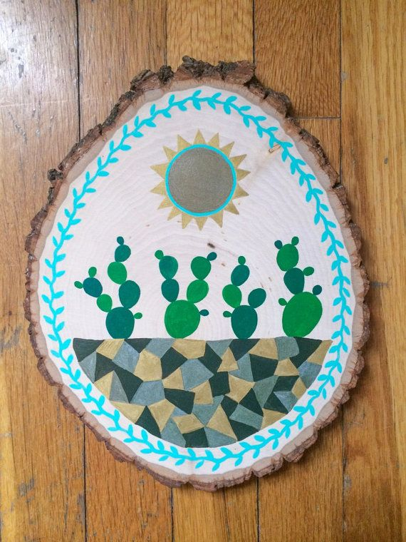 Cactus Wood Slice Painting by AGreenWorld on Etsy. Use coupon code green20 for 20% off through Feb 28!