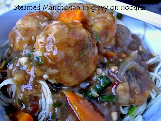 Steamed vegetable manchurian in gravy