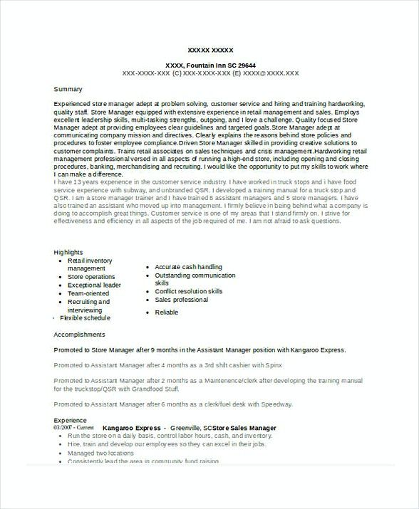 Store Sales Manager Resume 1 , Assistant Store Manager Resume - resume samples for sales manager
