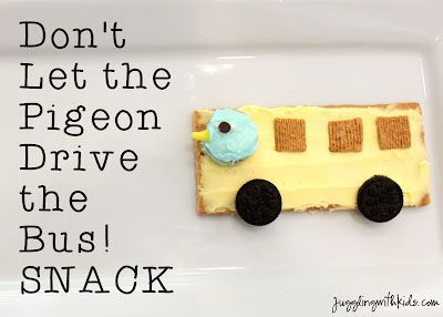 """Welcome to the June's Summer Virtual Book Club! This month Juggling With Kids and 15+ bloggers are reading books by Mo Willems.  We decided to create a cute snack to go with the book we read """"Don't Let the Pigeon Drive the Bus!""""  Check out what other books by Mo Willems other bloggers have read and what crafts/activities/cooking projects they linked up!"""