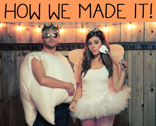 Julie Ann Art: Tooth + Tooth Fairy Costume DIY Tutorial. I hate dressing up but these costumes are cute and the tooth is hilarious! He has a crown on top!! hahahaha...