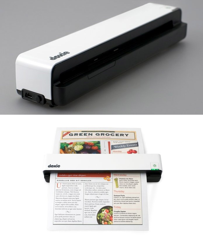 Doxie Portable Scanner allows you to scan paper, photos and receipts—no computer required. Saves scans to built-in memory or attach your own USB flash drive or SD card. Connects to Mac or PC via USB. Rechargeable battery lasts 100 scans per charge; recharges in 2 hours. Built-in memory stores up to 600 pages or 2400 photos.Memories Stores, Doxie Portable, Built In Memories, Usb Flash Drive, Receipts No Computers, Computers Requirements, 100 Scanning, Portable Scanner, Recharge Battery