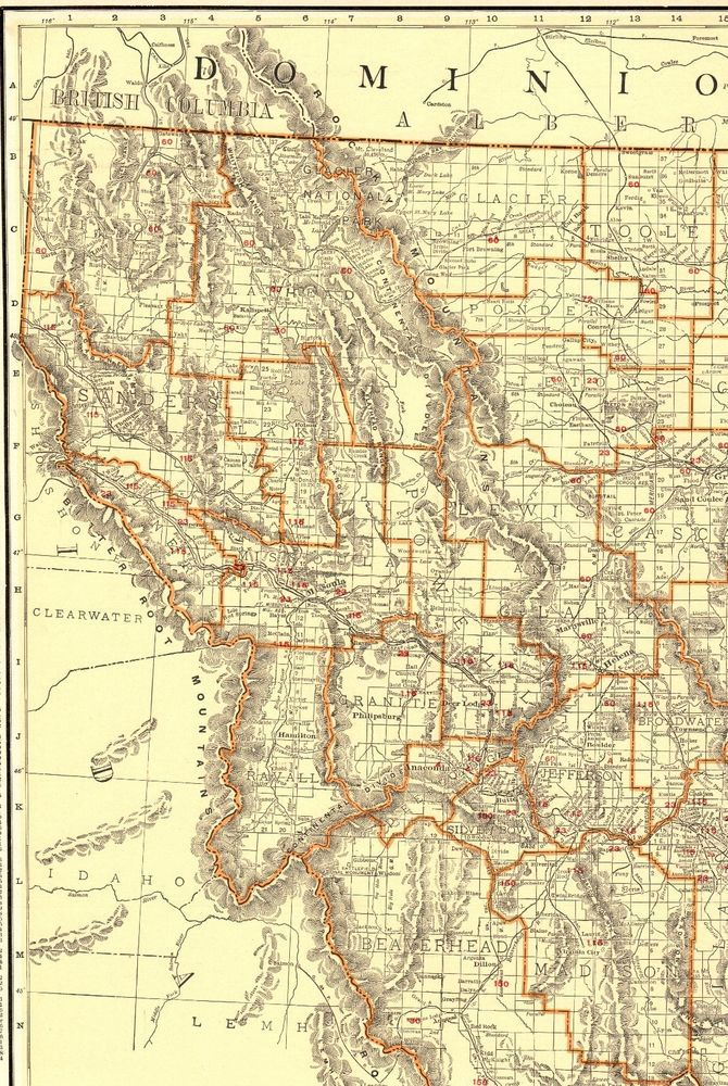 1930 Antique MONTANA State Map Vintage Map of Montana w RAILROADS ...