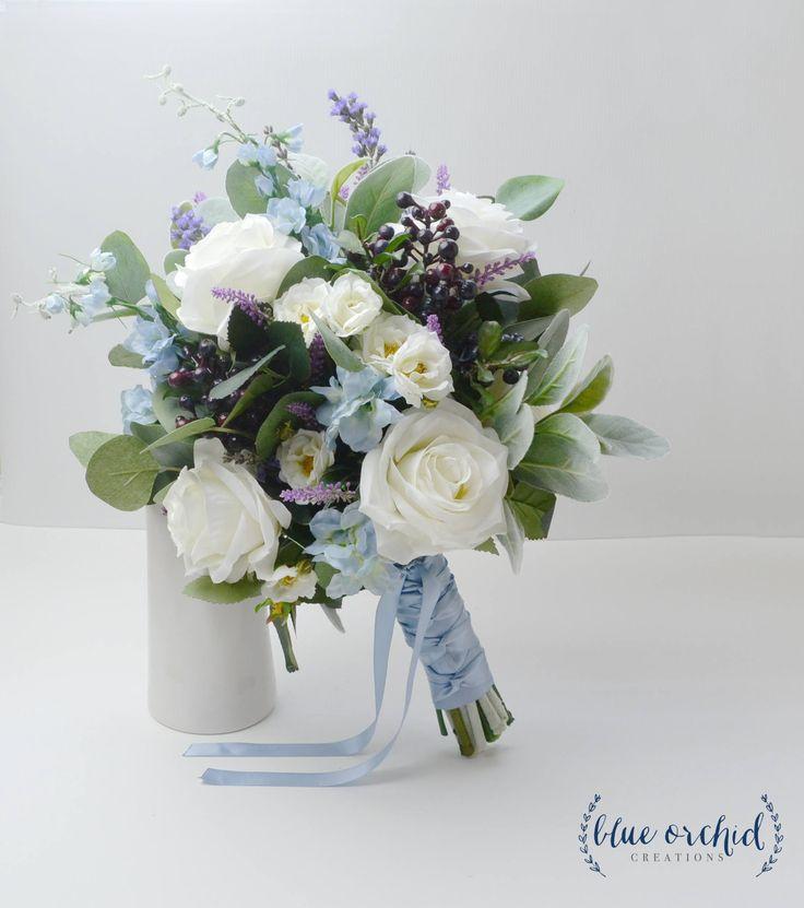 Wedding Bouquet, Boho Bouquet, Bridal Bouquet, Blue Bouquet, Faux Bouquet, Artificial Flower Bouquet, Wedding Flowers, Blue, White, Cream by blueorchidcreations on Etsy