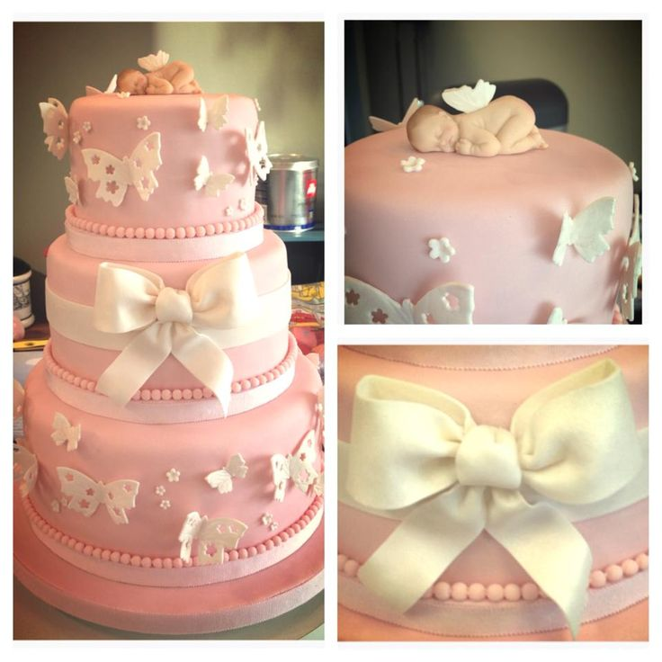 """- This was a baby shower cake made from my friend. It's a 6, 8, 10"""" cake each was shaved down to fit on a cake board so the pearls and fondant can fit. Ribbon and butterflies made from gumpaste, baby made from modelling paste with 3D silicon mould."""