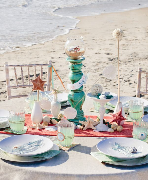 "Summer Beach Tablescape And A Summer Tablescape Party: MADHOUSE ""Ocean"" Inspired Tablescape {+ Ocean Breeze"