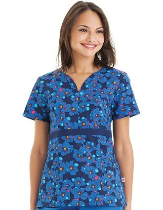 Style Code: (UR-9573PP)  Add a little zip to your wardrobe! This scrub top has hidden zipper front and empire waistline and modified sweetheart neckline. Top applied grosgrain ribbon extends to side princess seams. It has also bustline darts, two double pockets and side vents for ease of movement. It has 100% lightweight cotton.