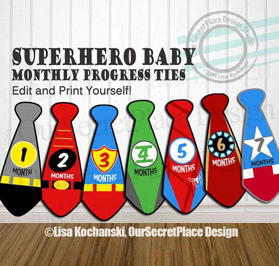 EDITABLE Superhero Baby Monthly Tie Stickers by OurSecretPlace, $11.99 Editable & Printable in Adobe Reader. Print yourself onto Sticker Paper and adhere to a Baby Onsie for monthly photos of your growing baby.