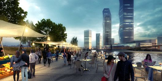 SYNWHA Consortium Wins Competition to Design Waterfront Park for Busan North Port,Open Air Market Street. Image Courtesy of SYNWHA Consulting