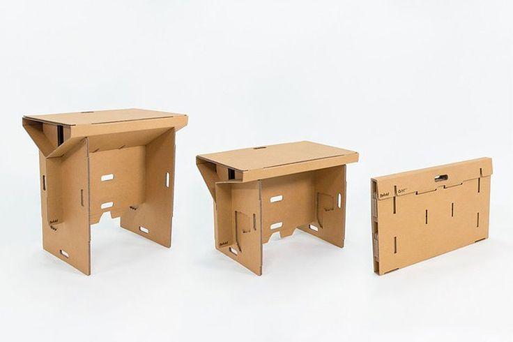 Refold - een opvouwbare werktafel van karton voor op kantoor - More office interior inspiration and tips on Dutch weblog http://www.stylingblog.nl