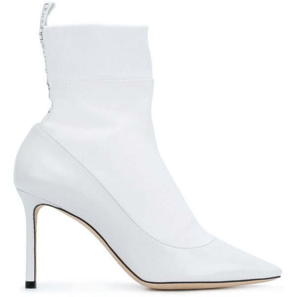 Jimmy Choo Brandon 85 boots ($1,075) ❤ liked on Polyvore featuring shoes, boots, white, white leather boots, stretch boots, pointed toe boots, white high heel boots and high heel stilettos