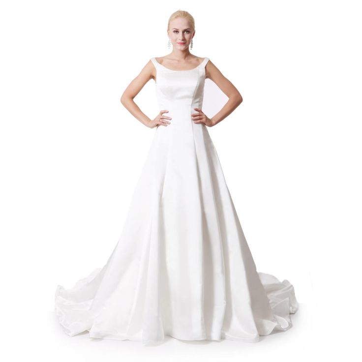 2016 new satin empire  wedding dresses plus size floor length Ivory / White vintage wedding dress sleeveless