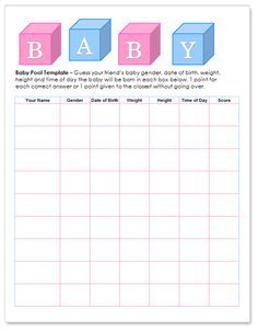 Baby shower betting pool template - Free! http://www.worddraw.com/baby-pool-template.html