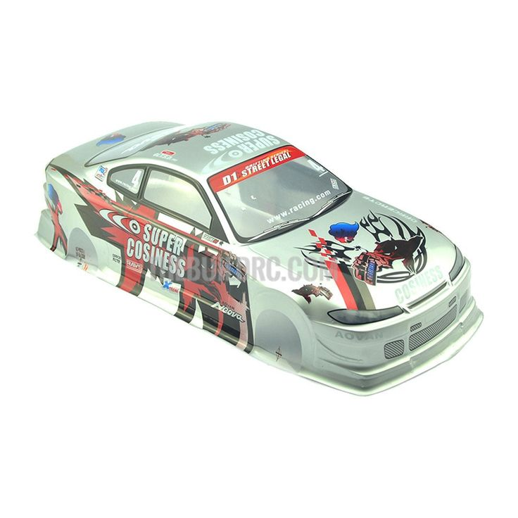 1/10 Nissan Silvia S15 Analog Painted Light Buckets RC Car Body with Rear Spoiler