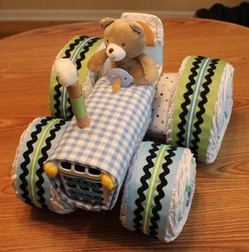 Tractor Diaper Cake: Step by step instructions and pictures! via @MELISSA❤️ MIESKE❤️