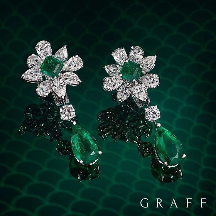 Floral Fluorescence Resembling a flower, these emerald and diamond earrings…