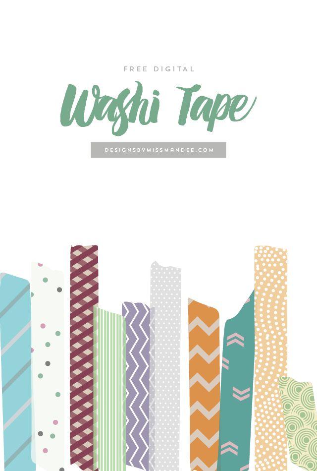 Free Digital Washi Tape Designs By Miss Mandee Digital Scrapbook Paper Washi Tape Planner Digital Scrapbooking Freebies