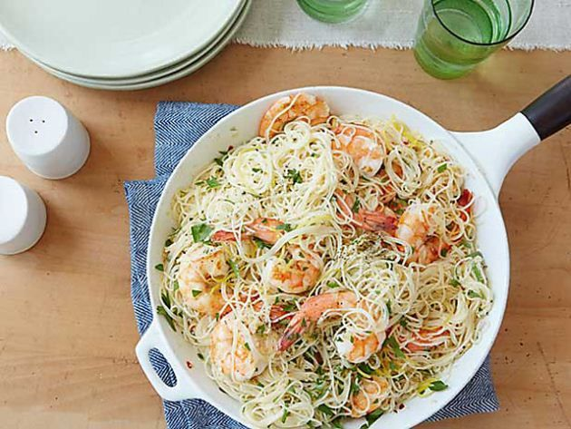 Get this all-star, easy-to-follow Gina's Shrimp Scampi with Angel Hair Pasta recipe from Patrick and Gina Neely