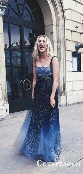 37c1e25347d Sparkly Chic Ombre Blue Sequins Simple Long Cheap Prom Dresses ...