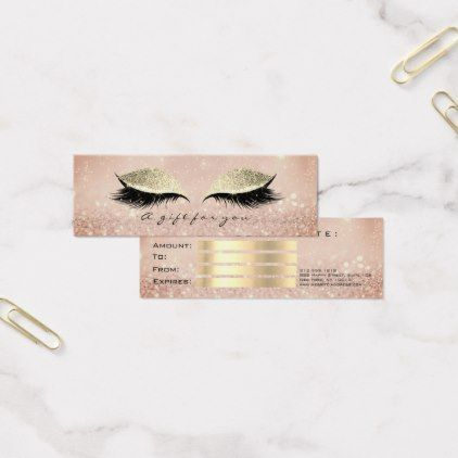 Small Gift Certificate Blush Glitter Lash Makeup - rose gold style stylish diy idea custom
