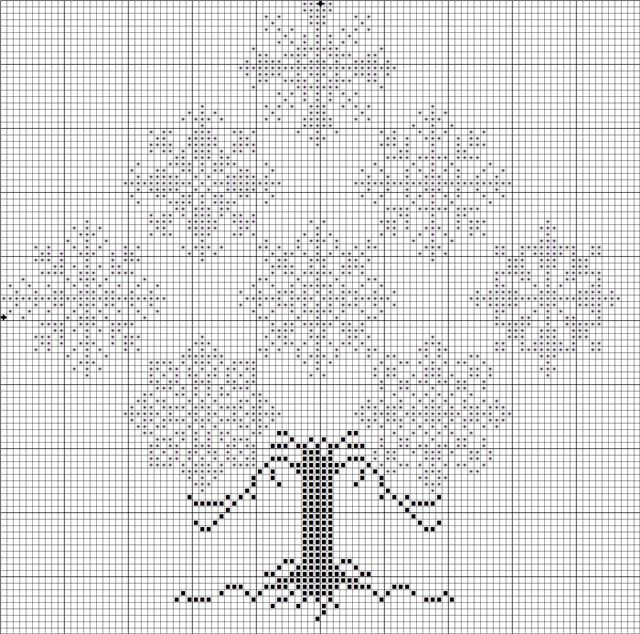 (640x634, 152Kb) - snowflake tree cross stitch chart