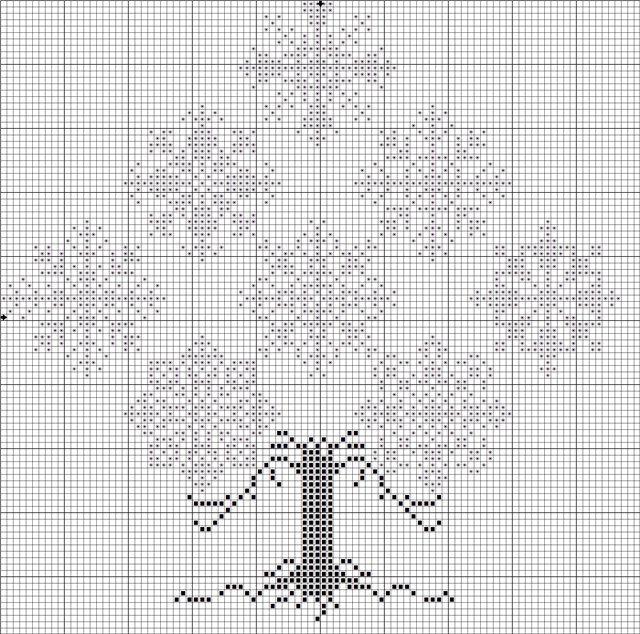 (640x634, 152Kb) - snowflake tree cross stitch chart