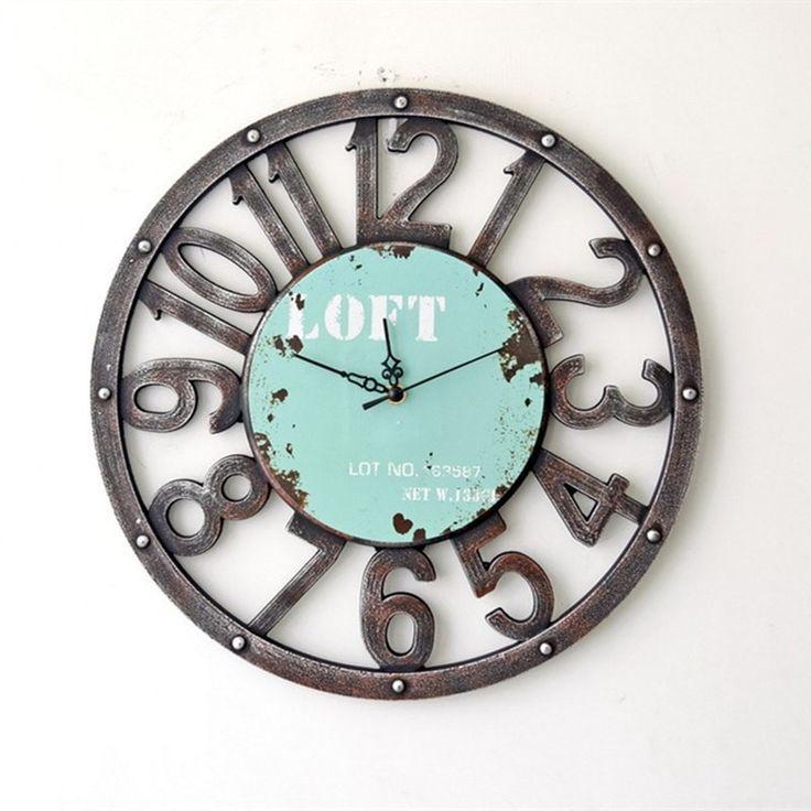 "Industrial Loft-Style Decorative 10"" Wood Round Wall Clock"