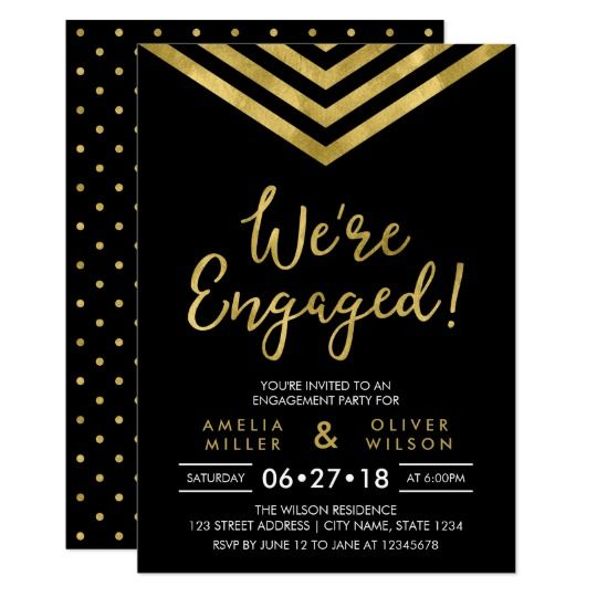 Modern Faux Gold Chevron Engagement Party  Invitation by Rosewood and Citrus on Zazzle