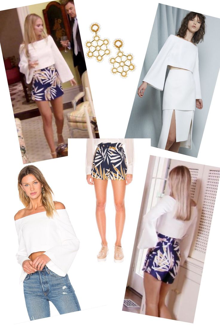 Cameran Eubank's White Off the Shoulder Top with Bell Sleeves worn with her Blue Printed Shorts at Craig's Charity Event  Season 4 Episode 3 Southern Charm Fashion http://www.bigblondehair.com/reality-tv/southern-charm/cameran-eubanks-white-off-the-shoulder-top/