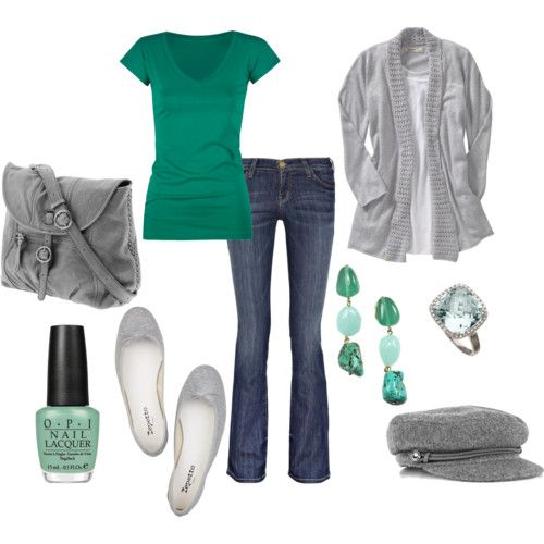 simple t-shirt, jeans, flats, cozy sweater. Great colors.