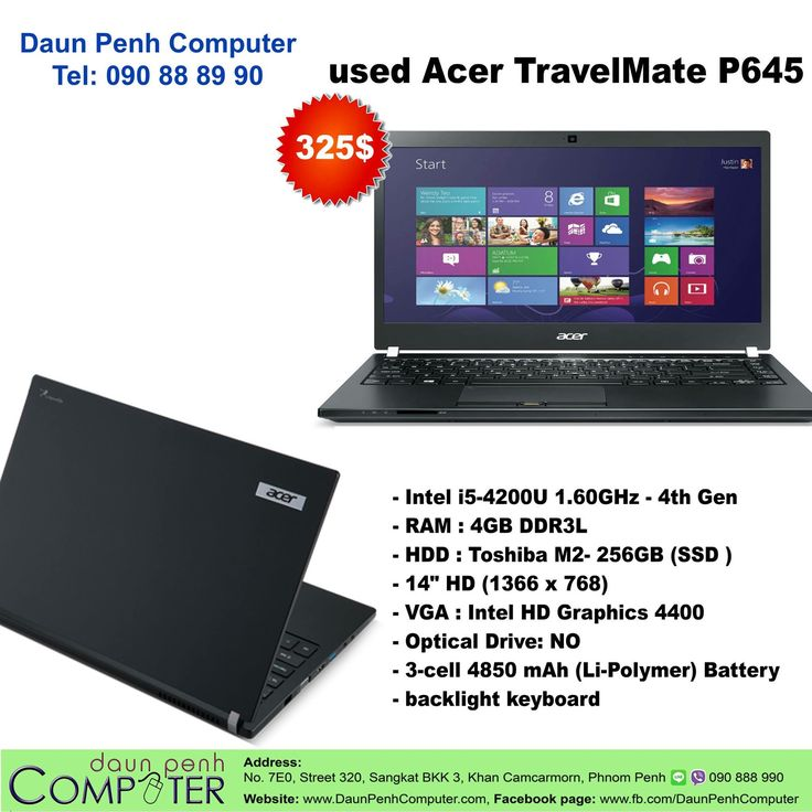 for sale used Laptop Acer TravelMate P645 from Australia Price 325$, Warrantee 1 month